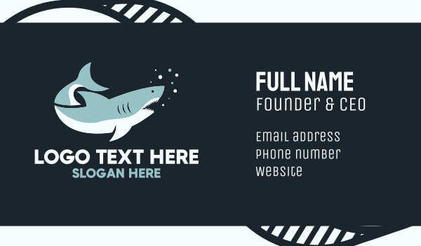 blue fish - Great White Shark Business card horizontal design