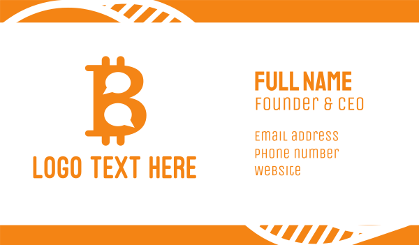 crypto - Bitcoin Chat Business card horizontal design