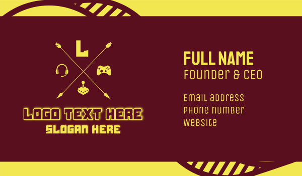 pubg - Yellow Gaming Console Letter  Business card horizontal design