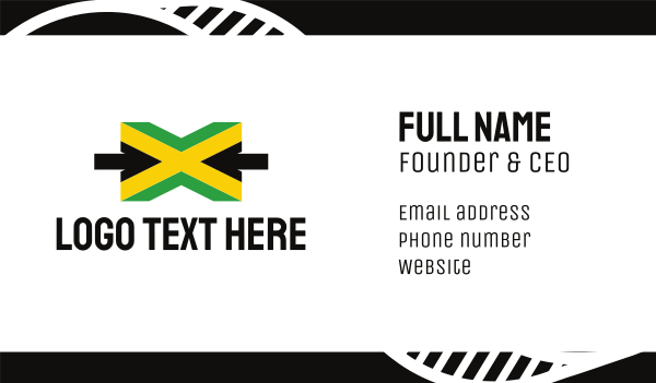 country - Jamaican Flag Letter X Business card horizontal design