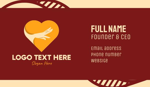 heartbreak - Reaching Hand Heart  Business card horizontal design