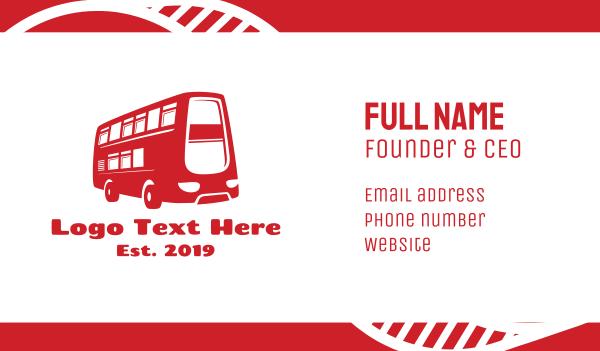 road trip - Double Deck Bus Business card horizontal design