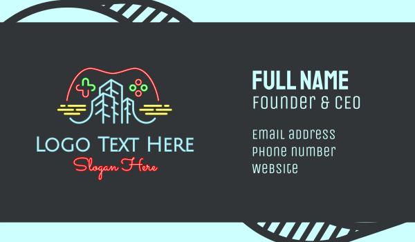 scene - Neon Video Game City Business card horizontal design