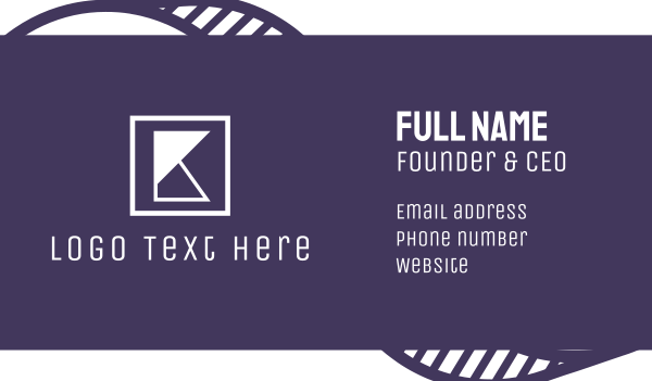 hipster - Geometric K Letter Brand Business card horizontal design