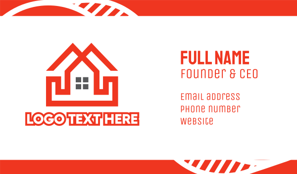 airbnb - Red Duplex House Business card horizontal design