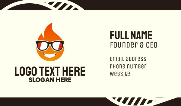 fun - Cool Fire Emoji Business card horizontal design