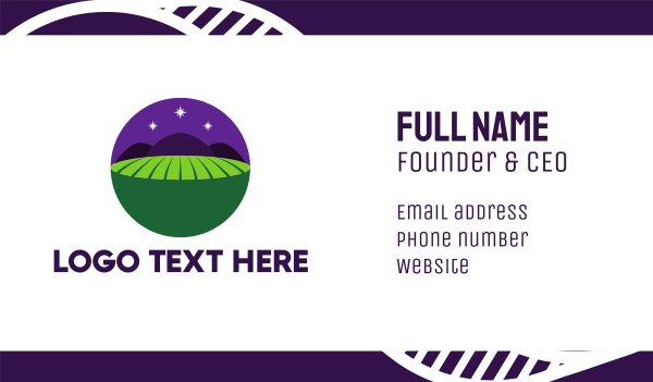 green circle - Night Field Business card horizontal design