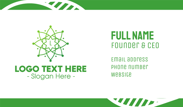 heavenly - Green Mandala Star Business card horizontal design