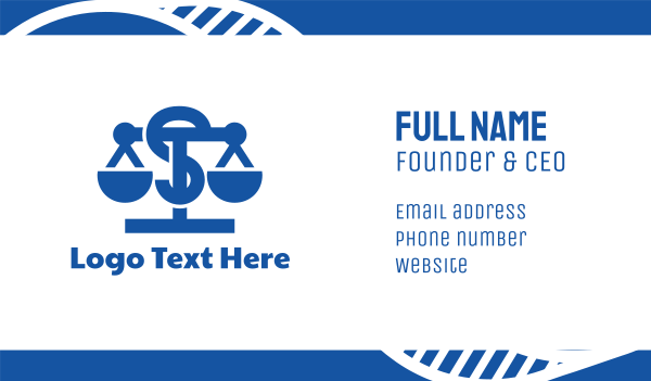judge - Blue Legal Letter S Business card horizontal design