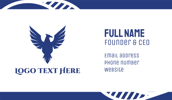 independence - Blue Flying Falcon Business card horizontal design