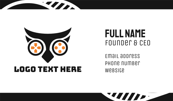 playstation - Owl Game Business card horizontal design