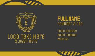 Golden Ornate Shield Lettermark Business Card