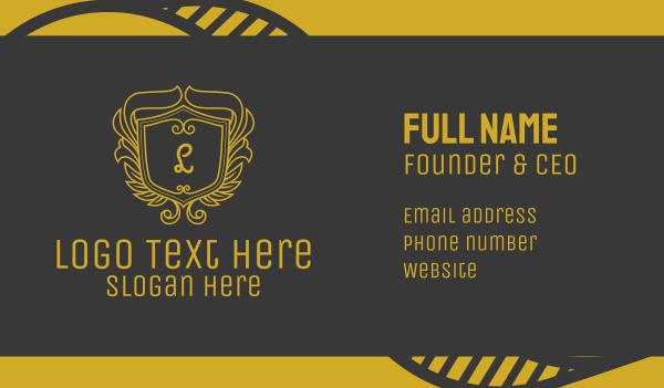 family crest - Golden Ornate Shield Lettermark Business card horizontal design