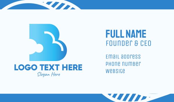 weather forecast - Blue Cloud Letter B Business card horizontal design