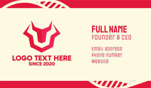 bull horns - Tech Red Bull Business card horizontal design
