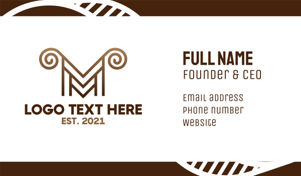whirl - Luxury M Horns Business card horizontal design