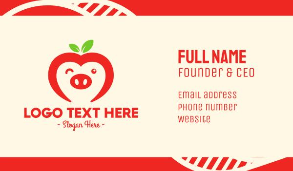 red apple - Happy Fruit Pig Business card horizontal design