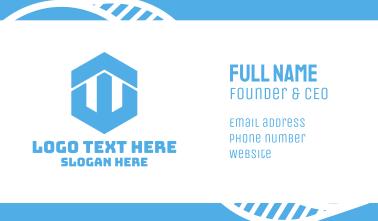 Blue Hexagon W Business Card