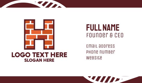 wall - Brick Letter H Business card horizontal design