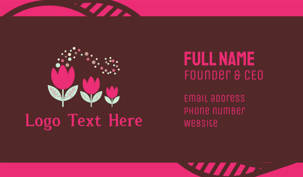 nappy - Pink Tulips Business card horizontal design