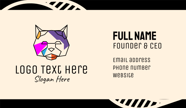 wilderness - Colorful Cat Line Art Business card horizontal design