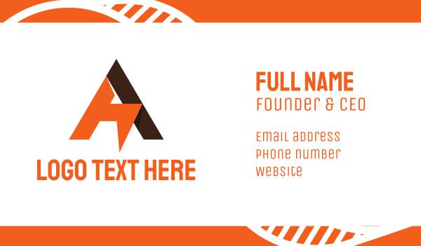 metal fabrication - Geometric Orange A Business card horizontal design