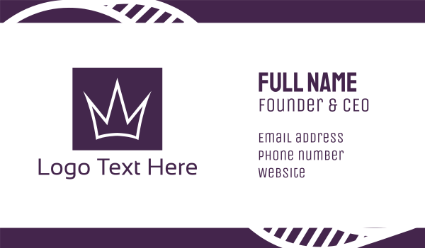 high end - Square Crown Business card horizontal design