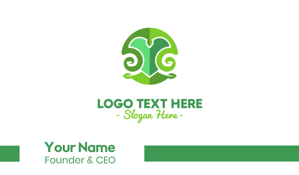 letter y - Green Natural Letter Y Business card horizontal design