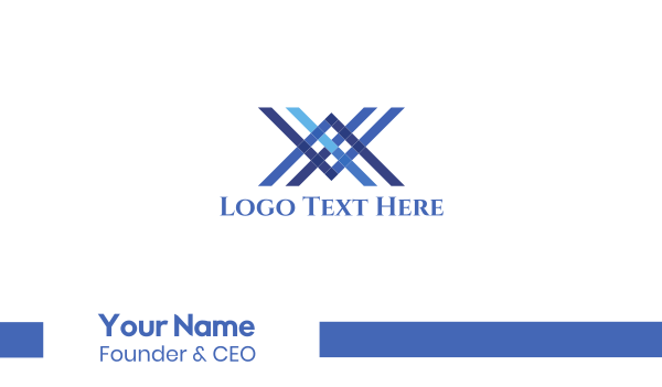 blue cross - Blue Letter X Lines Business card horizontal design