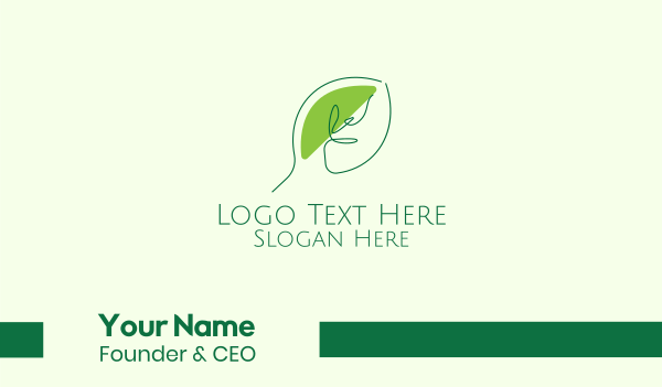 park - Green Leaf Line Art Business card horizontal design