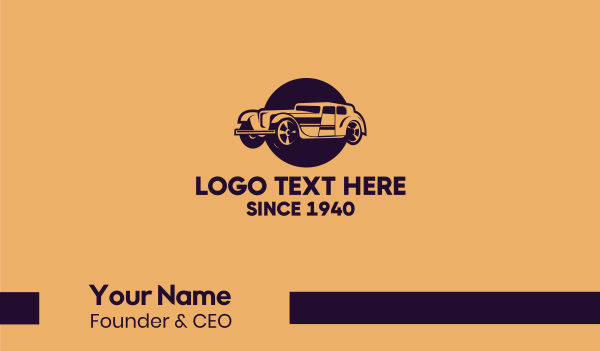 limo - Vintage Limousine Car Business card horizontal design