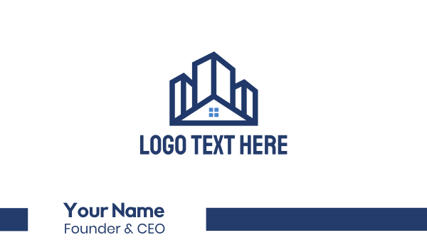 airbnb - Blue Building House Business card horizontal design