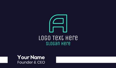 Neon Blue Letter Font Business Card