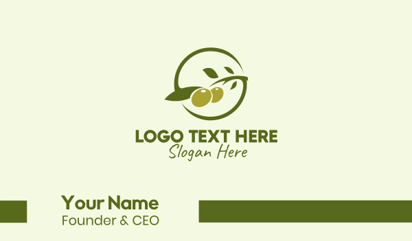 orchard - Green Olive Branch  Business card horizontal design