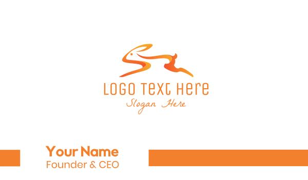 hare - Orange Bunny Business card horizontal design