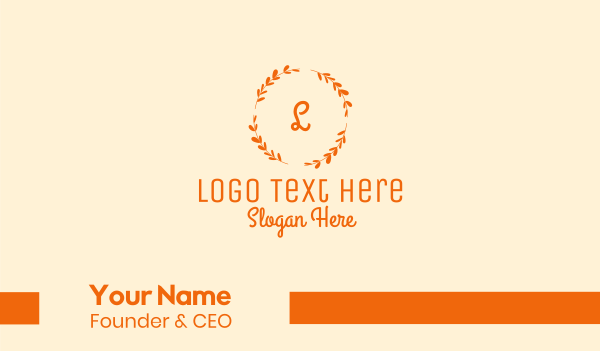 dress shop - Elegant Gold Floral Wreath Cursive Letter Business card horizontal design