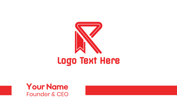 Red R Ribbon Business Card
