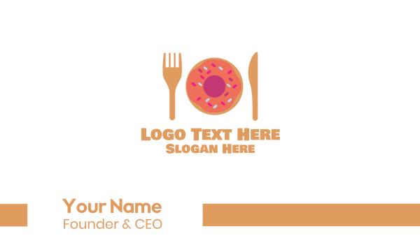 doughnut - Sweet Donut Dessert Knife & Fork Business card horizontal design