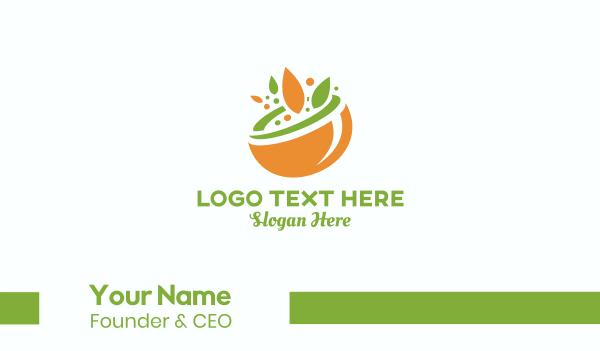 vegan food - Organic Food Bowl Business card horizontal design