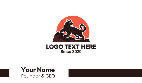 leopard - Black Panther Sunset Business card horizontal design
