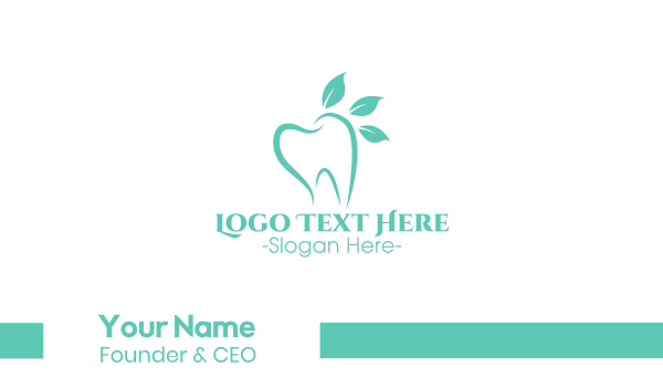 blue tooth - Green Dental Tooth Business card horizontal design