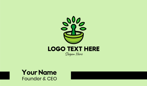 traditional medicine - Herbal Mortar & Pestle  Business card horizontal design