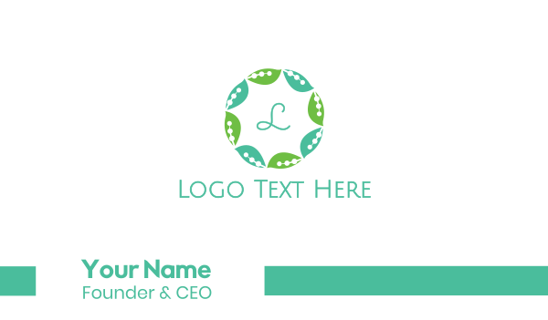 script - Leaf Circle Business card horizontal design