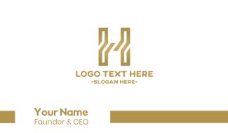 Golden Letter H Business Card