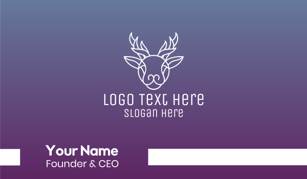 arctic - Elegant Reindeer Outline Business card horizontal design