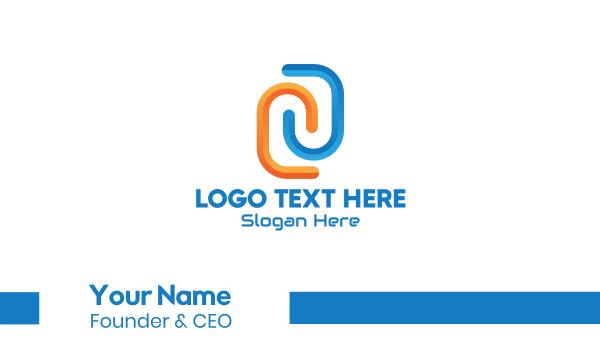 data transfer - Futuristic 3D Letter N Business card horizontal design