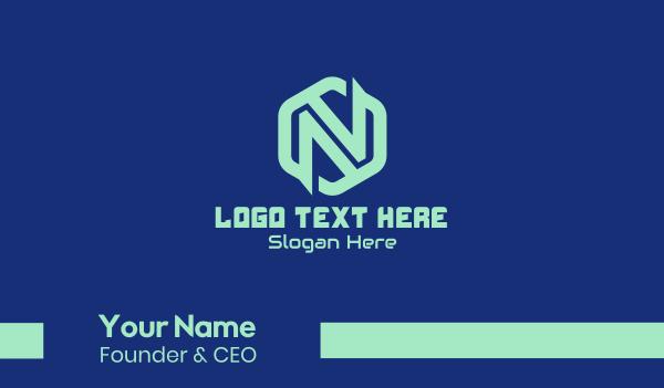 web developer - Tech Hexagon Letter N  Business card horizontal design