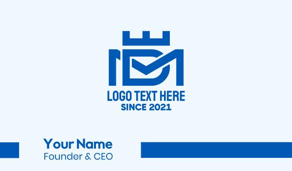md - Blue Monogram Letter D & M Business card horizontal design