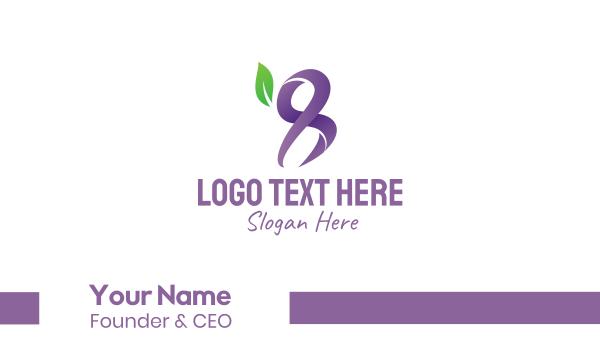 eggplant - Violet Leaf Number 8 Business card horizontal design