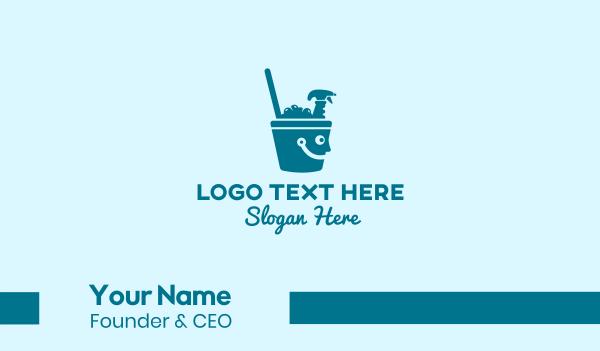 sprayer - Happy Cleaning Bucket  Business card horizontal design